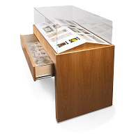 Gaylord® Delphi™ Double Slant Deck Athena Exhibit Case with Display Drawer & UV Acrylic