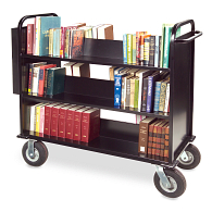 Gaylord® The Book Beast™ 3-Tier Double-Sided Sloped Shelf Steel Book Truck