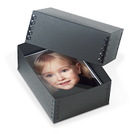 Gaylord Archival® Black Barrier Board Deep Lid Print Box with Black Metal Edges