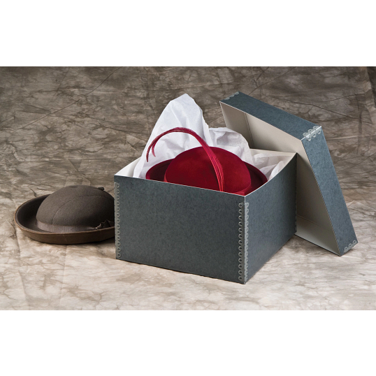 Gaylord Archival® Blue/Grey Barrier Board Lid Hat & Artifact Box