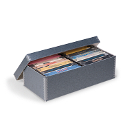 Gaylord Archival® Blue/Grey Barrier Board Shallow Lid Archival Videocassette Box