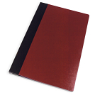 Burgundy cover with black binding