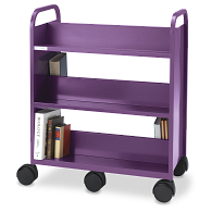 Smith System® Gorilla 3-Tier 6-Wheel Double-Sided Sloped Shelf Steel Book Truck