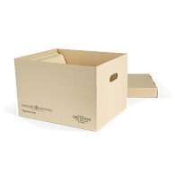 Gaylord Archival® Light Tan Classic Record Storage Carton with Handholds