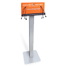 Floor-standing charging station shown with custom graphics.