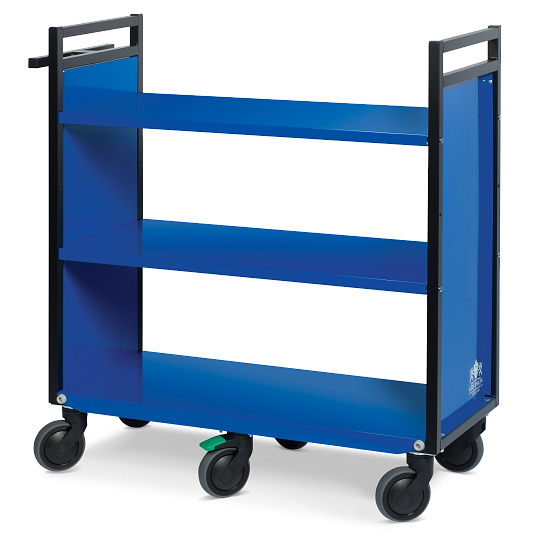 Gryphon® 3-Tier Reinforced Flat Shelf Book Truck
