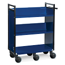 Gryphon® 3-Tier Single-Sided Steel Book Truck in Blue with two sloped shelves and one flat shelf