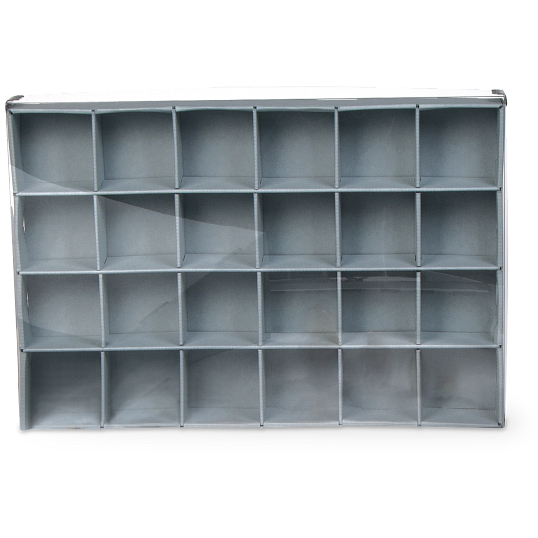 Gaylord® E-flute Clear Lid 24-Capacity Archival Multi-Divider Box