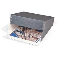 Gaylord Archival® Blue/Grey Barrier Board Drop-Front Deep Lid Print Box