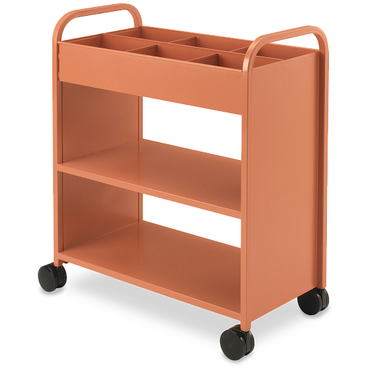 Smith System® Anything Cart 3-Tier Flat Shelf Steel Book Truck with Bins