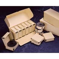 Gaylord Archival® Tan Barrier Board Drop-Front Flip-Top Microfilm Case