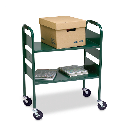 Gaylord Archival® Iron Horse® 2-Tier Fat Shelf Steel Book Truck