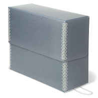 Gaylord® Blue/Grey Barrier Board Flip-Top Archival Document Case with DuraCoat™ Acrylic Coating