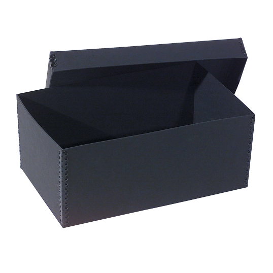 Gaylord Archival® Black Barrier Board Photo & Print Box with Black Metal Edges