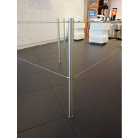 Floor-Mounted Museum Barrier with Dual Retractable Cords