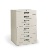 Russ Bassett 8-Drawer Locking Vertical Microfilm Cabinet