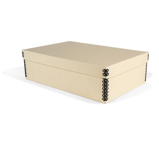 Gaylord Archival® Light Tan B-Flute Shallow Lid Box with Metal Edges