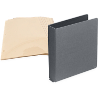 "1"" D-Ring Buckram Photo Preservation Album with 35 Cream Pages & Protectors"