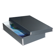 Gaylord® Blue/Grey Barrier Board Shallow Lid Archival Multipurpose Box with DuraCoat™ Acrylic Coating