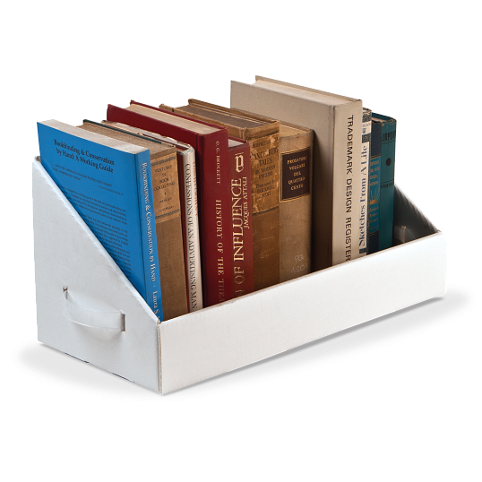 Gaylord Archival® White B-flute Book Tray with Handles