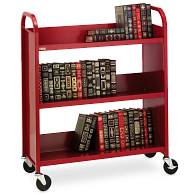 "Bretford® 3-Tier Single-Sided Sloped Shelf Steel Book Truck with 4"" Swivel Locking Casters"