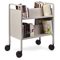 Gaylord® EconoTruck™ 2-Tier Double-Sided Sloped Shelf Steel Book Truck