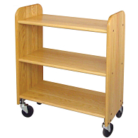 Catskill Craftsmen 3-Tier Flat Shelf Wood Book Truck