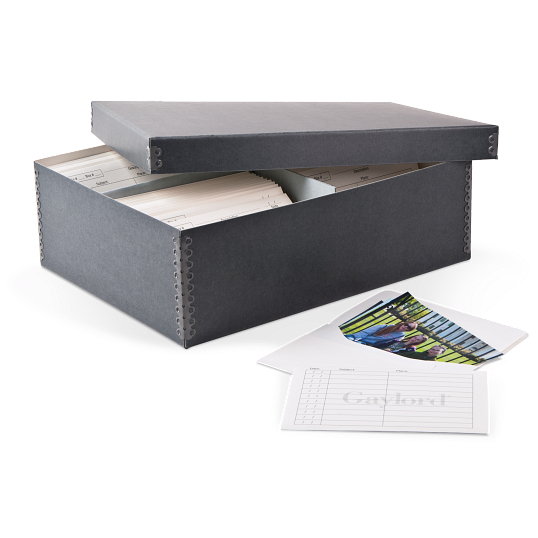 Gaylord Archival® Blue/Grey Barrier Board Shallow Lid High-Capacity Photo Box with Envelopes
