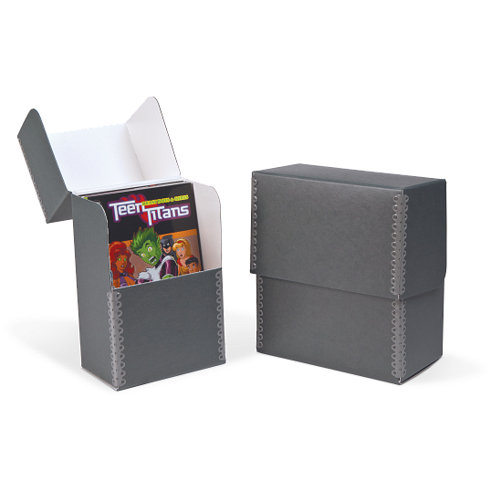 Gaylord® Blue/Grey Barrier Board Flip-Top Archival Pamphlet Box with DuraCoat™ Acrylic Coating