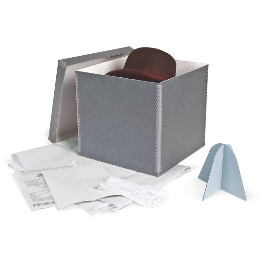 Gaylord Archival® Blue/Grey Barrier Board Shallow Lid Hat Preservation Kit