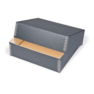 Gaylord Archival® Blue/Grey Barrier Board Deep Lid Print Box with DuraCoat™ Acrylic Coating