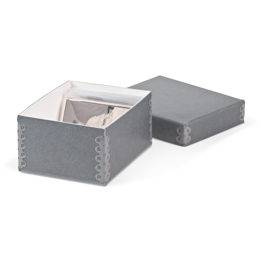 Gaylord® Blue/Grey Barrier Board Archival Carte de Visite Box