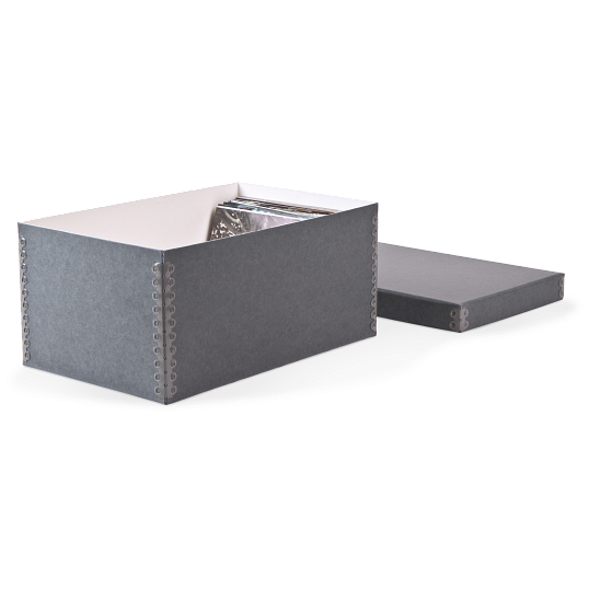 Gaylord Archival® Blue/Grey Barrier Board Shallow Lid Archival Photo & Print Box