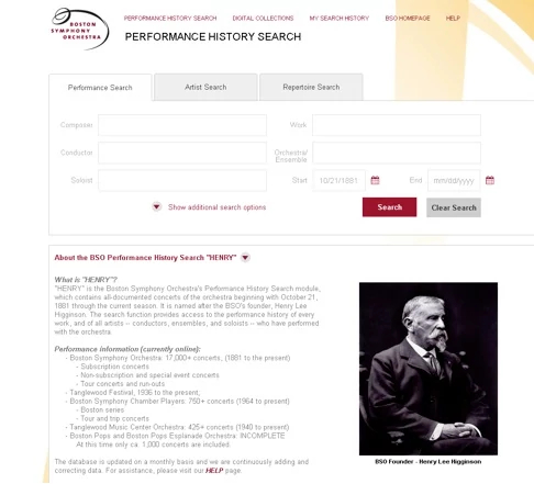 Boston Symphony Orchestra Performance History Search Engine