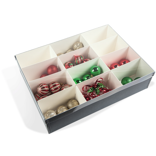 Gaylord Archival® Clear Lid 12-Compartment Ornament Box