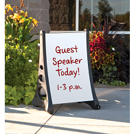 Indoor/Outdoor A-Frame Double-Sided White Markerboard Sidewalk Sign