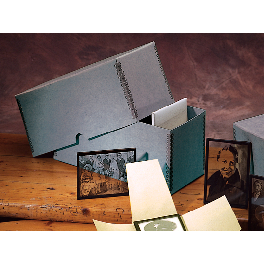 Gaylord Archival® Blue/Grey Barrier Board Lantern Slide Storage Box