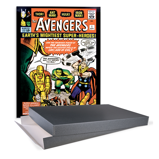 Gaylord Archival® Blue/Grey Barrier Board Drop-Front Marvel Poster Box
