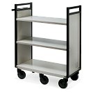 Gryphon® 3-Tier Flat Shelf Steel Book Truck in Grey shown