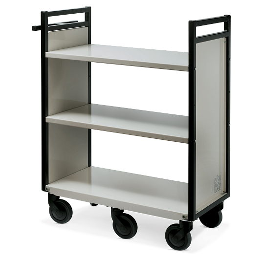 Gryphon® 3-Tier Flat Shelf Steel Book Truck