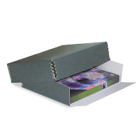 Gaylord Archival® DocuDry™ Blue/Grey Barrier Board Drop-Front Deep Lid Print Box