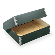 Gaylord® Blue/Grey Barrier Board Clamshell Archival Box