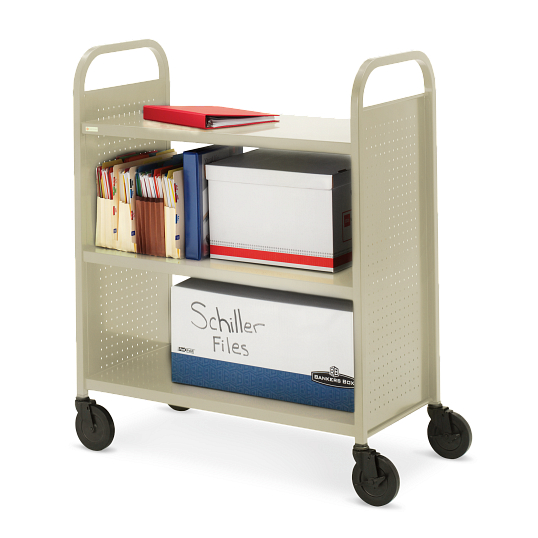 Bretford Voyager 3-Tier Flat Shelf Steel Book Truck