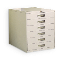 Russ Bassett 6-Drawer Locking Vertical Microfilm Cabinet