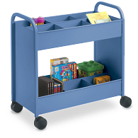 Smith System® Everything Cart™ 2-Tier Tub Shelf Steel Book Truck with Bins