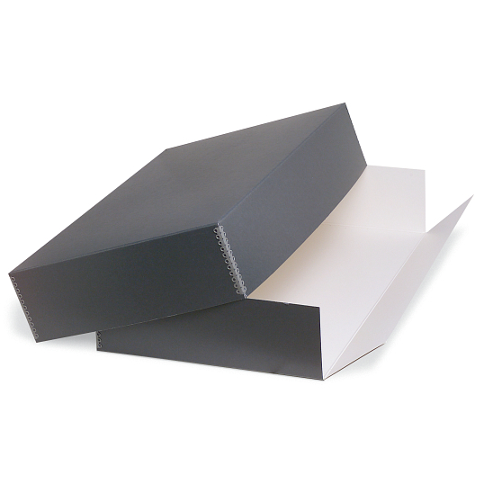 Gaylord Archival® Blue/Grey Barrier Board Drop-Front Textile & Costume Box with DuraCoat™ Acrylic Coating