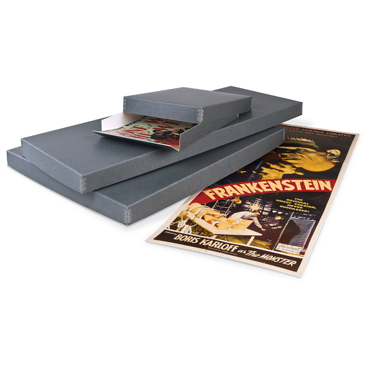 "Gaylord Archival® Blue/Grey Barrier Board Drop-Front Archival 27 x 41"" One Sheet Poster Box"
