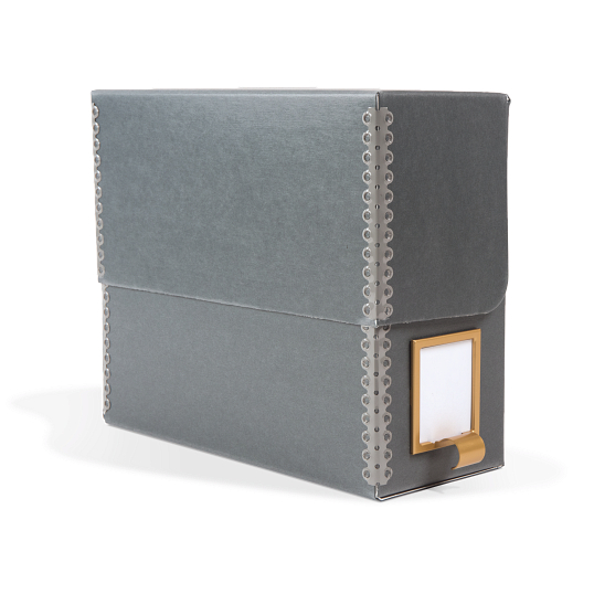 Gaylord® Blue/Grey Barrier Board Flip-Top Archival Document Case with DuraCoat™ Acrylic Coating and Label Holder