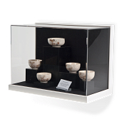 Gaylord Archival® Little Gem White Wall-Mount Exhibit Case with Linen-Wrapped Interior