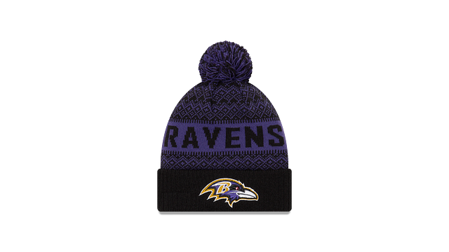 BALTIMORE RAVENS WINTRY POM KNIT Front view